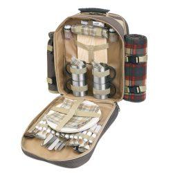 Rucsac picnic 4 persoane, accesorii incluse, poliester, Everestus, CP1, maro, saculet de calatorie si pastila racire incluse