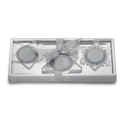 Set de 3 suporti lumanari, Wax, matt silver
