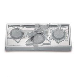 Set suport lumanare, 3 bucati, cu design de Craciun, Everestus, 20IAN2566, Argintiu, Sticla