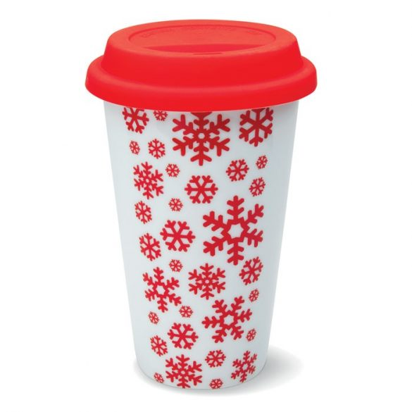 Pahar de calatorie cu pereti d, Ceramics, red