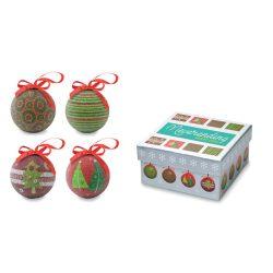 Set globuri Craciun in cutie, materiale multiple, multicolor