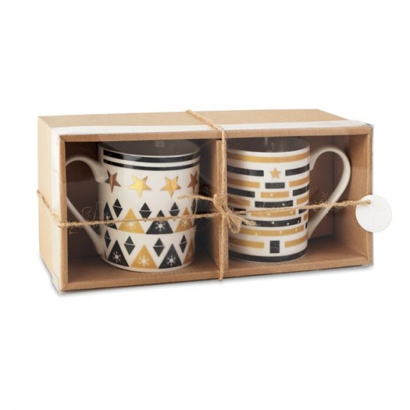 Set 2 cani ceramice cu design de Craciun, Everestus, 20IAN2565, Multicolor, Ceramica
