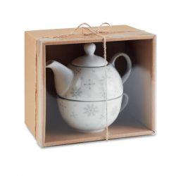 Set ceainic 400 ml si ceasca 260 ml, Everestus, 20IAN1014, Gri, Ceramica