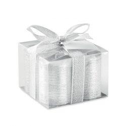 Set 4 lumanari in cutie transparenta, Everestus, 9IA19057, Ceara, Argintiu