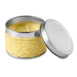 Lumanare parfumata lamaie, in cutiuta metalica, Everestus, LPD16, galben, laveta inclusa