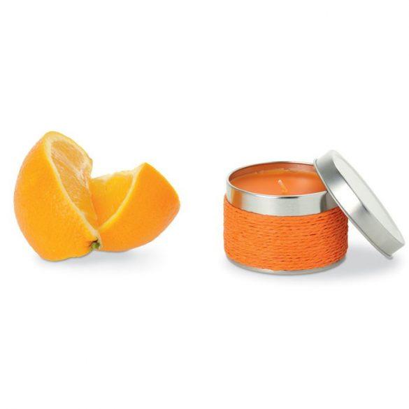 Lumanare parfumata portocala, in cutiuta metalica, Everestus, LPD14, portocaliu