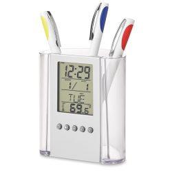 Suport pixuri cu calendar, ceas si termometru, transparent, Everestus, SAB04, acril, lupa de citit inclusa