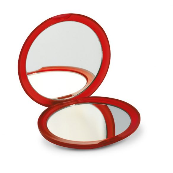 Oglinda rotunda dubla, Plastic, transparent red