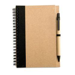 Bloc notes reciclat si pix, Paper, black
