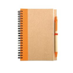 Bloc notes reciclat si pix, Paper, orange