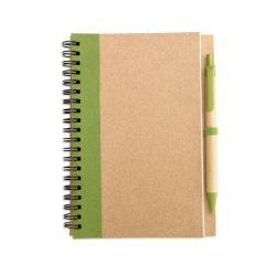 Bloc notes reciclat si pix, Paper, lime