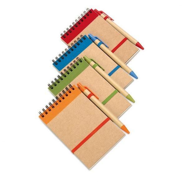 Bloc notes reciclat si pix, hartie, orange