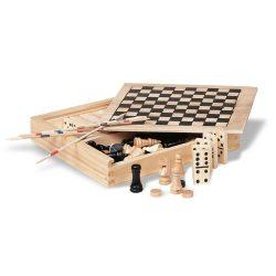 Set 4 jocuri in cutie din lemn, Everestus, JJE02, natur, saculet de calatorie inclus