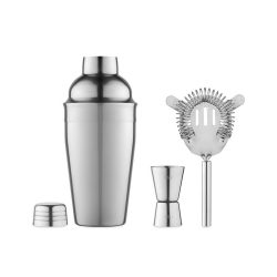 Set coctail cu shaker, Metal, shiny silver