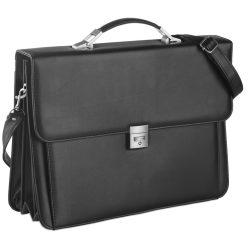 Servieta Laptop din imitatie piele, pvc, Everestus, GL29, negru, saculet de calatorie si eticheta bagaj incluse