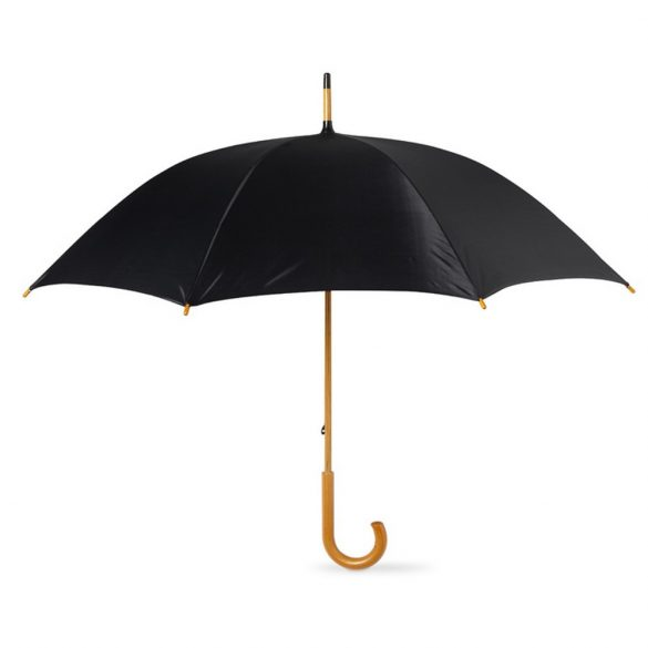 Umbrela 23 inch, maner curbat din lemn, Everestus, 20IAN806, Negru, Poliester