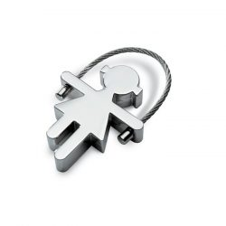 Breloc metalic in forma fetita, Metal, shiny silver