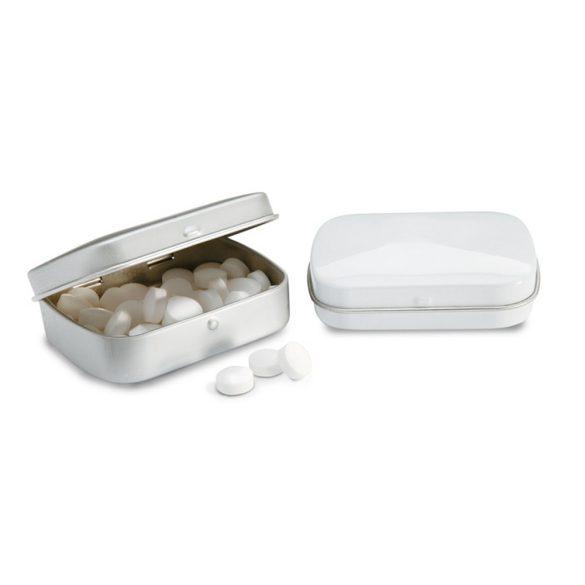 28 grame drajeuri mentolate, Tin, white