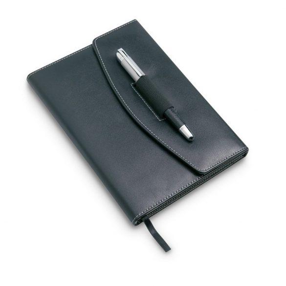 Agenda pentru notite A5, pix metalic inclus, Everestus, CA1, poliuretan, negru
