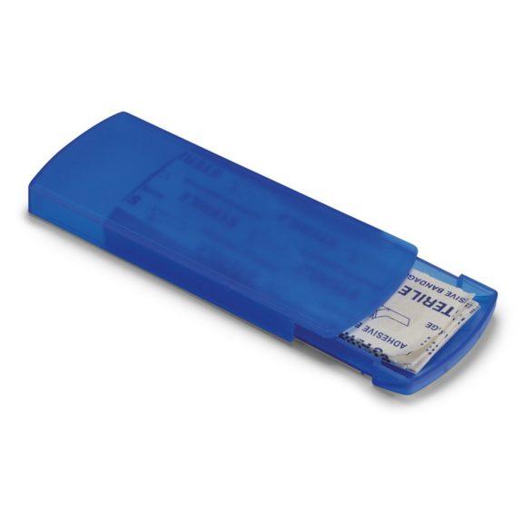 Cutie cu 5 plasturi adezivi, Plastic, transparent blue