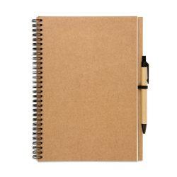 Bloc notes reciclat si pix, Paper, beige