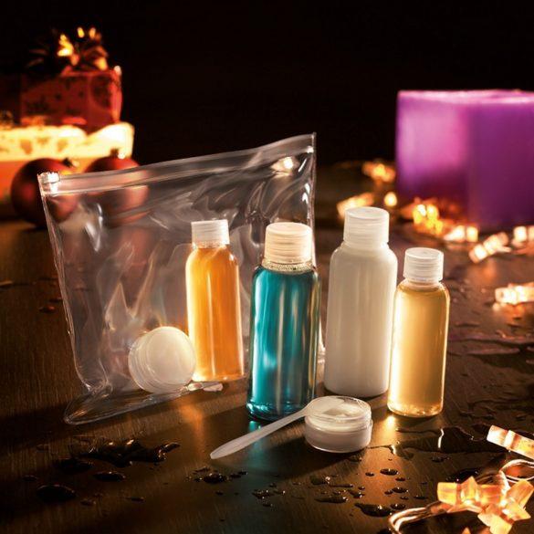 Geanta cu 6 recipiente cosmetice din plastic pentru calatorii cu avionul, Everestus, AO01, pvc, transparent