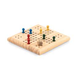 Joc Ludo cu tabla din lemn si saculet pentru piese, Everestus, 20IAN201, Lemn, Natur