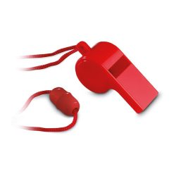 Fluier cu snur, Plastic, red