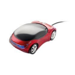 Mouse in forma de masina, Plastic, red
