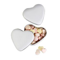 Cutie forma inima cu bomboane, Plastic, white