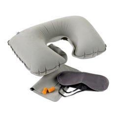 Set perna de calatorie, masca de ochi si dopuri de urechi, Everestus, TS02, pvc, gri, saculet de calatorie inclus