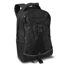 Rucsac cu buzunare laterale din plasa, 600D poliester, Everestus, RU36, negru, saculet de calatorie si eticheta bagaj incluse