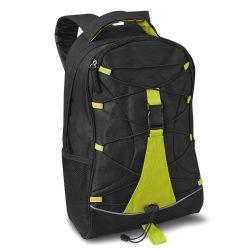 Rucsac cu buzunare laterale din plasa, 600D poliester, Everestus, RU37, verde lime, saculet si eticheta bagaj incluse