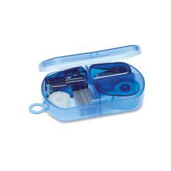 Set papetarie in cutie plastic, Plastic, transparent blue