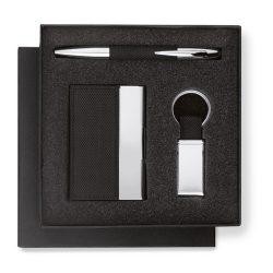 Set cadou pix, suport carti de vizita si breloc, in cutie, aliaj de zinc, Everestus, PI8, negru, lupa de citit inclusa