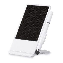 Suport telefon de birou cu pix, Everestus, STT008, abs, alb, laveta inclusa