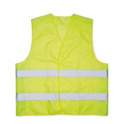 Vesta de siguranta din poliester cu dungi reflectorizante, Everestus, VE02, galben, saculet de calatorie inclus