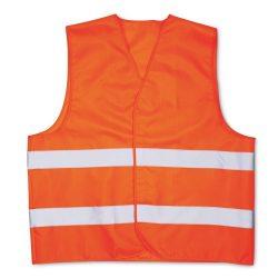 Vesta de siguranta din poliester cu dungi reflectorizante, Everestus, VE01, portocaliu, saculet de calatorie inclus