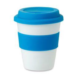 Pahar din PP cu capac silicon, Plastic, blue