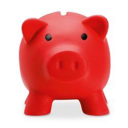 Pusculita porc din pvc si abs, 90x70x70 mm, Everestus, MBP06, plastic, rosu, radiera inclusa