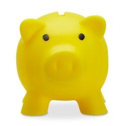 Pusculita porc din pvc si abs, 90x70x70 mm, Everestus, MBP09, plastic, galben, radiera inclusa