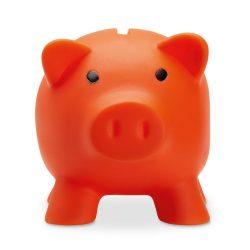 Pusculita porc din pvc si abs, 90x70x70 mm, Everestus, MBP05, plastic, portocaliu, radiera inclusa