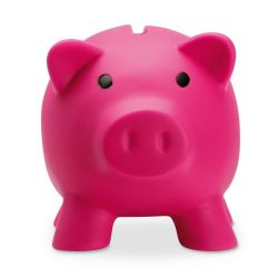 Pusculita porc din pvc si abs, 90x70x70 mm, Everestus, MBP03, plastic, fuchsia, radiera inclusa