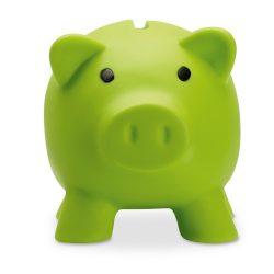 Pusculita porc din pvc si abs, 90x70x70 mm, Everestus, MBP04, plastic, verde lime, radiera inclusa