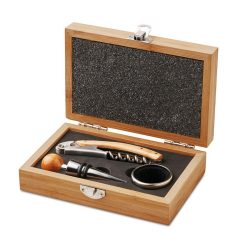 Set vin in cutie de bambus, materiale multiple, Everestus, AV11, lemn