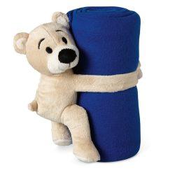 Patura polar cu ursulet 120x80 cm, lana, Everestus, PA16, albastru, saculet sport inclus