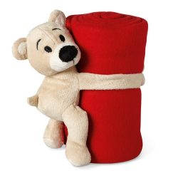 Patura polar cu ursulet 120x80 cm, lana, Everestus, PA17, rosu