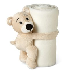 Patura polar cu ursulet 120x80 cm, lana, Everestus, PA18, alb, saculet sport inclus