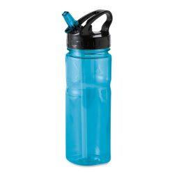Sticla sport cu pai 600 ml, fara BPA, Everestus, NA02, plastic, transparent, albastru, saculet de calatorie inclus