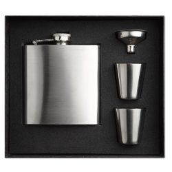 Sticla de buzunar cu paharele, otel inoxidabil, matt silver